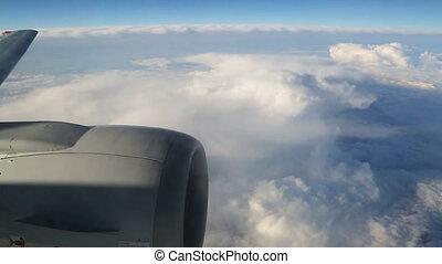 motor, vliegtuig, wolken, vleugel, aanzicht