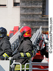 motor, vuur, brandweerman, kooi