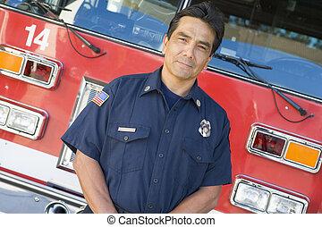 motor, vuur, brandweerman, verticaal