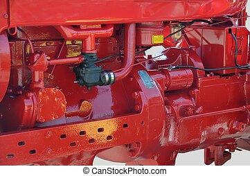 motor, weinlese, traktor
