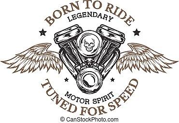 motor, wings., motorcykel