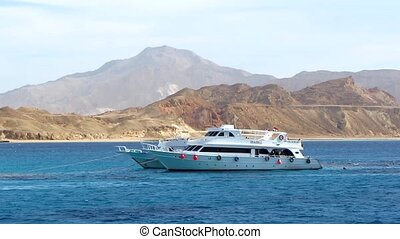Motor yacht in the Red Sea