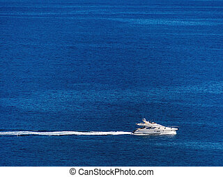motor yacht on the sea, - motor yacht at sea, symbolic photo...