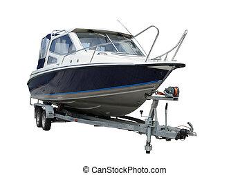 Motor yacht separately on a white background