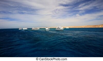 Motor yachts in the open Red Sea