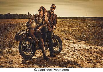 motorbiciklik, szüret, párosít, szokás, versenyfutó, field., elegáns, kávéház