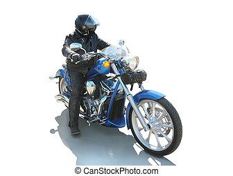 motorbiciklis, képben látható, a, motorkerékpár, elszigetelt