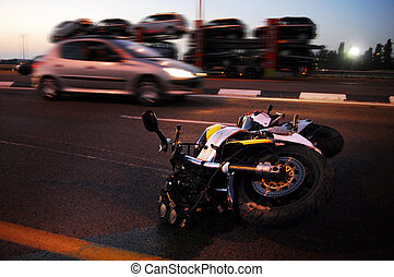 ASHKELON, ISR - MAY 21: Motorbike accident on May 21 2008. Motorcycles have a higher fatality rate per unit of distance travelled when compared with automobiles.
