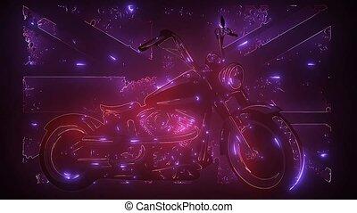 Motorbike and British flag and motorbike video