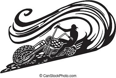 Motorbike, Chopper - Vector illustration. - Motorbike,...