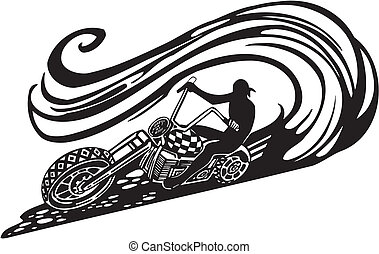 Motorbike, Chopper - Vector illustration. - Motorbike, ...