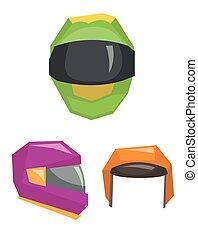 Motorbike classic helmets vector illustration.