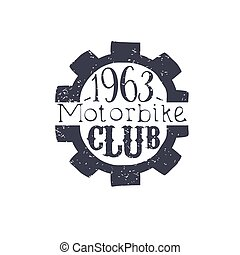 Motorbike Club Black And White Vintage Emblem