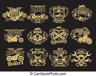 Motorbike club vintage vector patches on black. Motorcycle racing labels and emblems