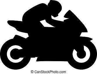 Motorbike driver silhouette