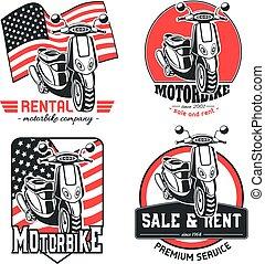 motorbike., ensemble, logos., vecteur