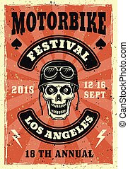 Motorbike festival vector colored vintage poster