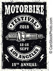 Motorbike festival vintage poster with spark plug