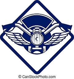 Motorbike Handlebar Headlamp Wings Diamond Retro -...