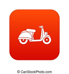 Motorbike icon digital red