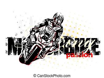 motorbike illustration on grungy background
