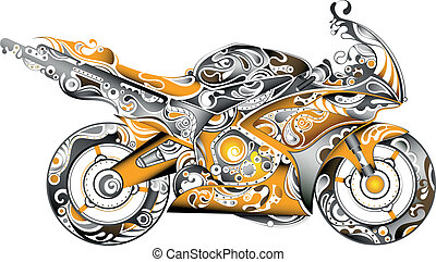 Motorbike - Illustration of abstract motorbike.