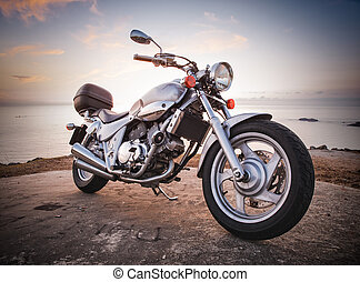 Motorbike in a low angle shot in nature