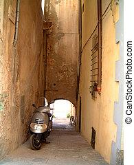 motorbike in alleyway