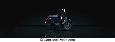 motorbike in dark background. 3d rendering