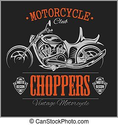 motorbike., logotype., ouderwetse , garage, vector, ...