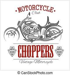 motorbike., logotype., szüret, garázs, vektor, motorkerékpár, húsbárd, logo.