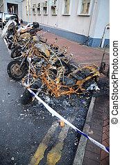 motorbike., materien, verbrannt, versicherung
