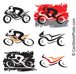 Set of differently styled motorbike icons. Vector illustration.