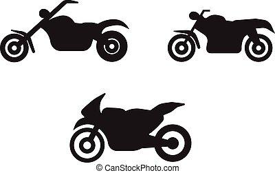 motorbike motorcycle symbols in black silhouette