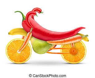 motorbike of fruits and vegetables on a white background