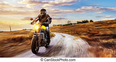 motorbike on the road riding. having fun riding the empty ...