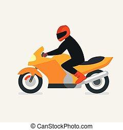 motorbike., plat, illustration., motocycliste, festival., conduire, race., vecteur, motocyclette, moto, icon., design.