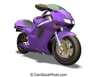 purple motor bike 3D isolated white background