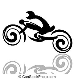 Motorbike racer - Fast riding biker on a motorcycle...