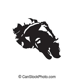 Motorbike racing, isolated vector silhouette, front view