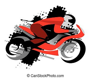 Motorbike racing - Motorcycle competitor on the grunge...
