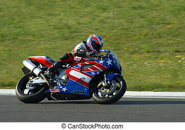 Motorbike Racing - Amateur pilot racing in circuit