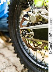 Motorbike rear wheel close-up