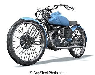 motorbike retro 3D isolated white background