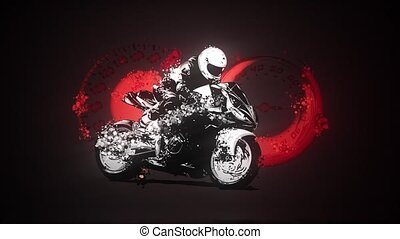 Motorbike rider, abstract silhouette. Road motorcycle racing