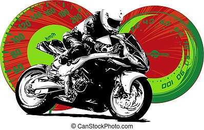 Motorbike rider, abstract vector silhouette. Road motorcycle racing