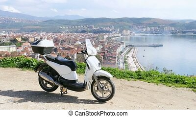 """Motorbike rider at Gemlik, Bursa, Turkey, High angle"""