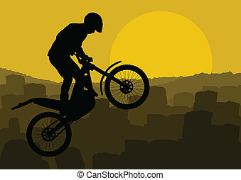 Motorbike rider motorcycle silhouette vector background