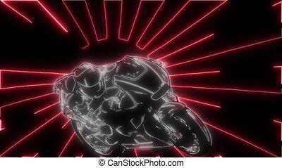 Motorbike rider silhouette. Road motorcycle racing laser animation