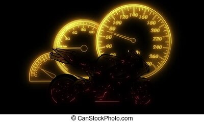 Motorbike rider silhouette. Road motorcycle racing laser animation